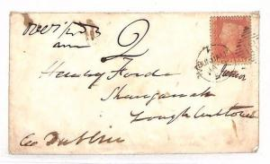 BG33 GB IRELAND 1858? Penny Red UNDERPAID Cover *Dundalk* Duplex Charged *2*