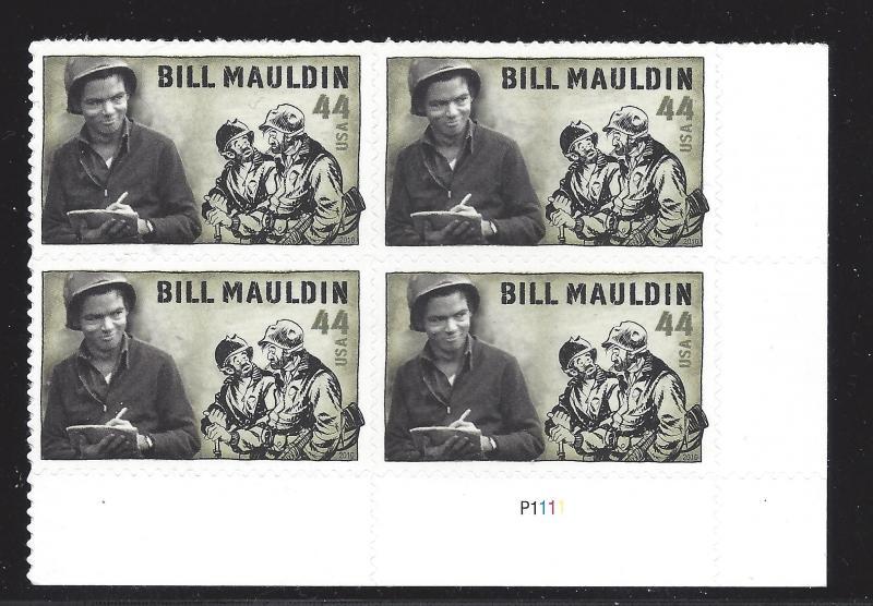 4445 44c BILL MAULDIN - PLATE BLOCK OF 6# S111111 UR - CV*: $8.50 - LOT 430