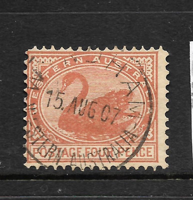 WESTERN AUSTRALIA  1905-12   4d   SWAN    FU     SG 142a