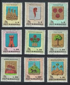 San Marino Arms of San Marino Villages 9v SG#838-846 SC#677-685
