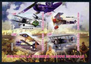 Chad 2011 Aircraft of World War 1 imperf sheetlet contain...