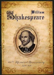 PALAU  2016 400th MEMORIAL ANNIVERSARY OF WILLIAM SHAKESPEARE SOUVENIR SHEET  NH