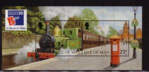 Isle of Man Sc 785d 1998 Steam Engine Philex France stamp souvenir sheet mint NH