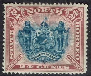 NORTH BORNEO 1894 ARMS 24C PERF 13.5-14