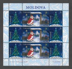 Moldova 2007 Christmas 9 MNH stamps mini-sheet