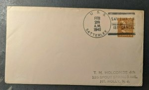 1940 USS Satterlee First Cancel San Juan Puerto Rico to Mt. Holly New Jersey