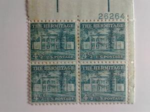 SCOTT # 1037 FOUR AND ONE HALF CENT HERMITAGE PLATE BLOCK GEM MINT NEVER HINGED