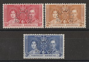 NORTHERN RHODESIA 1937 KGVI Coronation set 1½d-3d, perf SPECIMEN. MNH **.