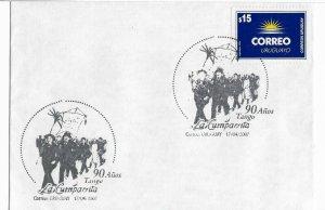 URUGUAY 2007 TANGO SONG LA CUMPARSITA 90 YEARS COVER WITH SPECIAL POSTMARK