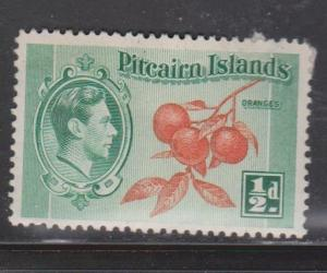 PITCAIRN ISLANDS Scott # 1 MH Part OG - KGVI & Oranges