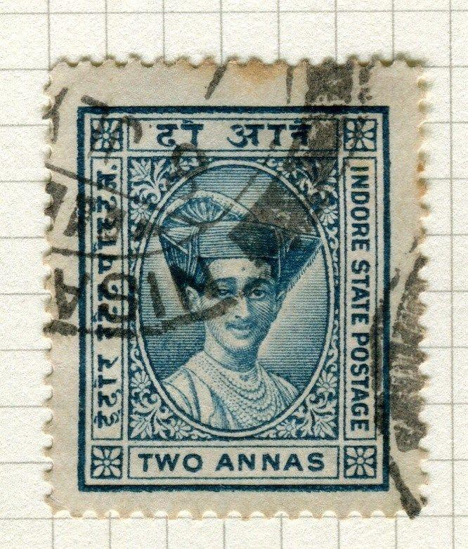 INDIA;   INDORE 1927 early Holkar II issue fine used 2a. value