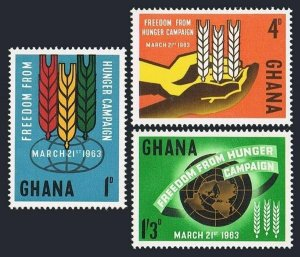 Ghana 132-134 blocks/4,MLH/MNH.Mi 138-140. FAO 1963.Freedom from Hunger campaign