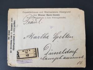 1919 Wien Vienna Austria to Düsseldorf Germany Registered Inflation Cover