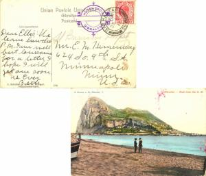 Gibraltar 1d KEVII 1911 Gibraltar, 25 PPC (Rock from the N.W.) to Minneapolis...