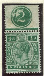 MALTA; 1914 early GV issue fine Mint hinged Shade of 1/2d. value