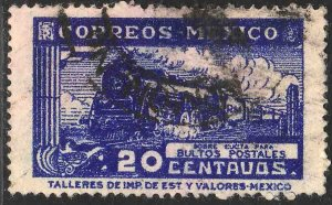 MEXICO Q4, 20¢ PARCEL POST. STEAM ENGINE. USED. F-VF (1013)