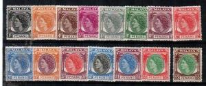Malaya-Penang Scott 29-44 (missing #39) - Catalog Value $73.20