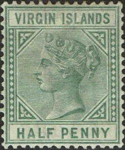 VIRGIN ISLANDS #13 1883 HALF PENNY QUEEN VICTORIA ISSUE-MINT-OG/HINGED--VF