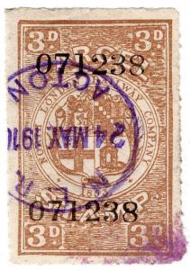 (I.B) North London Railway : Parcel Stamp 3d (Acton)