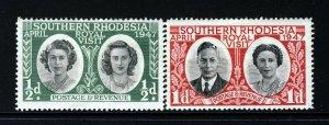 SOUTHERN RHODESIA King George VI 1947 Royal Visit Set SG 62 & SG 63 MINT