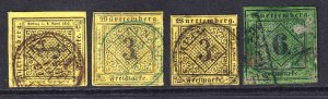 GERMANY WURTTEMBERG COLLECTION LOT CANCELS x4 #1