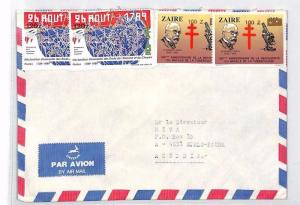 ZAIRE INFLATION SURCHARGES 1989 Air Mail Cover CATHOLIC Missionary MIVA BU45