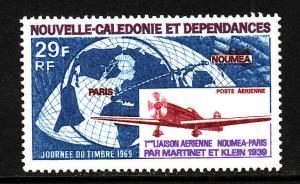 New Caledonia-Sc#C62-unused NH airmail-Planes-World Map-Caud