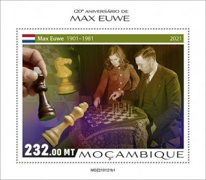 Mozambique 2021 MNH Chess Stamps Max Euwe Dutch Player Games Sports 1v S/S I