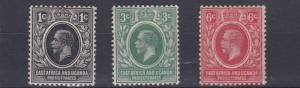 BRITISH EAST AFRICA  1921     S G  65 - 67  VALUES TO   6C    MH   LIGHT TONING