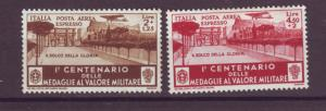 J21533 Jlstamps 1934 italy set mh #ce8-9 airplanes/view