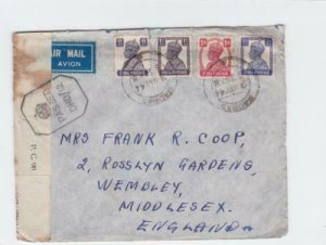 british india  1944 censor air mail madras to englsnd stamps cover ref r15372
