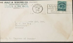 Philippines 1936 Manila To Germany Air Cover