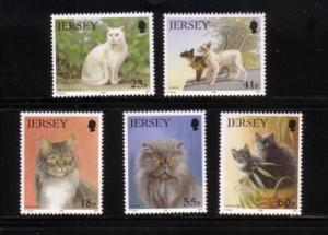 Jersey Sc 661-65 1994 cats stamp set mint NH