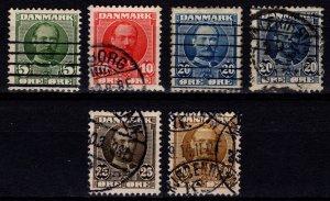 Denmark 1907-12 Frederik VIII Definitives, Part Set incl. 20o shades [Used]