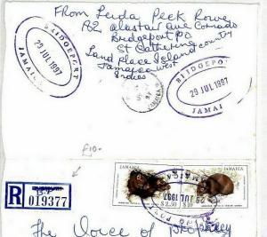 Jamaica Cover *Bridgeport* TRD Provisional Registered Label{samwells} 1997 CS136