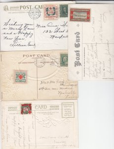 1908-1913, Christmas Seals Used on Post Cards, Grp 7 (S18588)