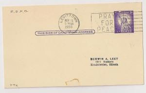 3c Postal Card #UX46 w 1958 LEVITTOWN PA cnl First Day of PO