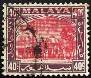 Malaya 1942 Jap Occu opt Selangor 40c Used SG#J219b MA1514 Red opt Side CV£500