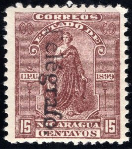 RH69, H69, Type 16,14 - 15c red-brown (reading down), Used - Nicaragua Tele...