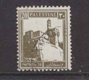 Palestine Sc 77 used. 1927 20m olive green Citadel Plate variety in Hebrew Print