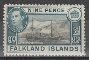 FALKLAND ISLANDS 1938 KGVI SHIP 9D