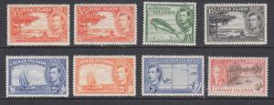 Cayman Islands Sc 100/131 MLH. 1938-1950 KGVI Pictorials, 8 different, almost VF