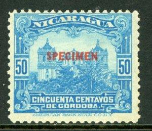 Nicaragua 1914 Cathedral 50¢ Light Blue SPECIMEN  Mint M466