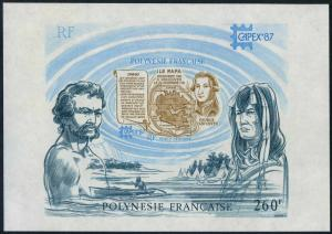 Fr Polynesia C226,MNH.Michel Bl.13. CAPEX-1987.George Vancouver.Map,Rapa Island.
