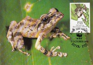 Fiji 1988 Maxicard Sc #594 45c Fiji Tree frog WWF
