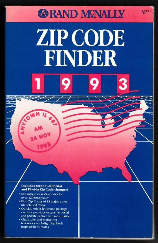 1993 Rand McNally Zip Code Finder Book