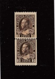 CANADA # 134i MNH PASTE-UP-PAIR KGV 3cts ADMIRALS CAT VALUE $150