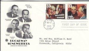 1999,Broadway Songwriters-Gershwin, Lerner & Loewe, PCS, FDC (E7820)
