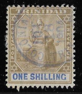Trinidad 1/- Britannia issue of 1904 Scott 86 Used Purple Colonial Trinidad cds