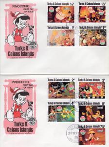 Turks and Caicos 1980 Sc# 442-50 Disney Christmas/PINOCCHIO Set (9) FDC (2)